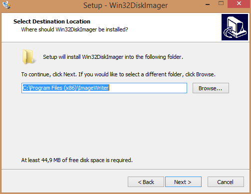 Win32 Disk Imager Installation utility